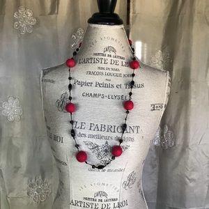Red felt ball & black bead cord necklace